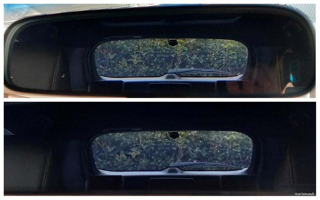 純正ミラーとドラレコミラーの視認性の比較