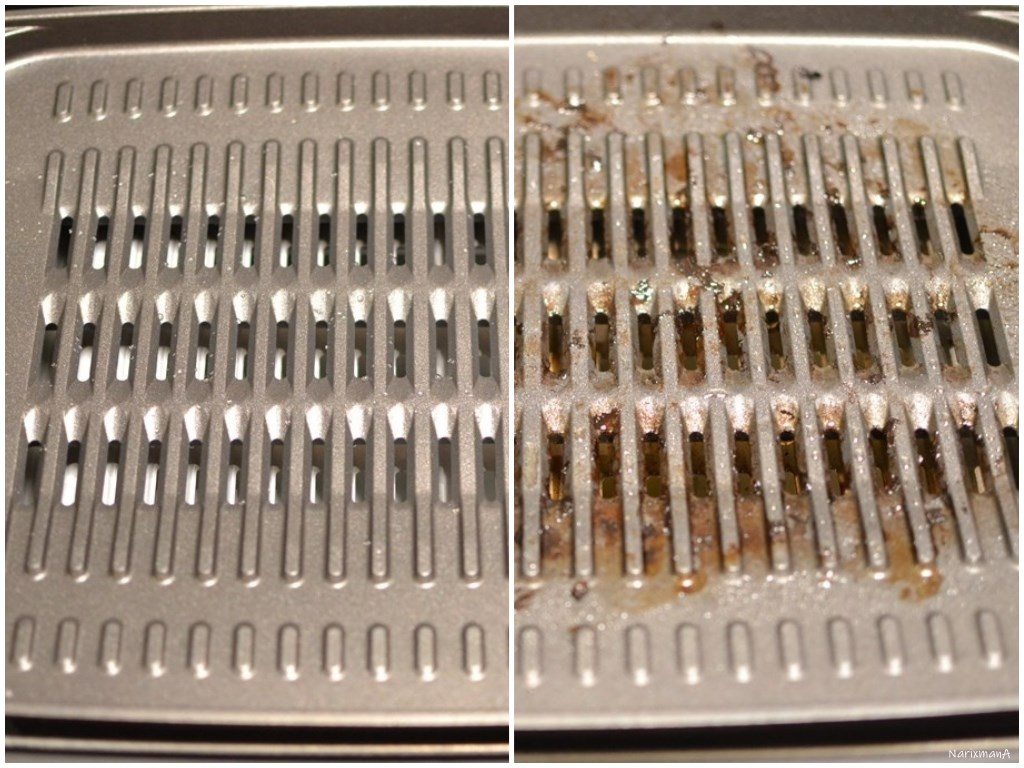 焼肉プレートの使用前後の比較