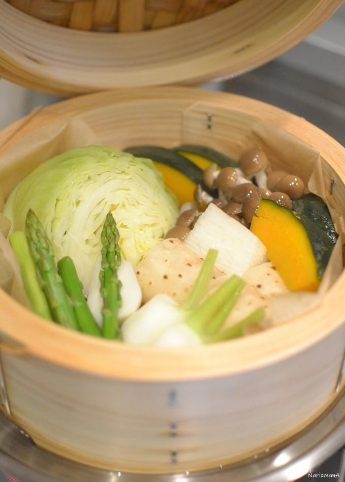 蒸し野菜の調理後