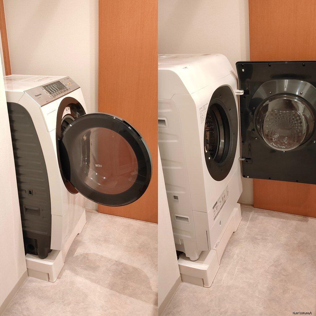ドラム式洗濯機の扉を開けた状態